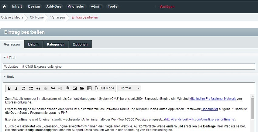 Websites mit CMS ExpressionEngine